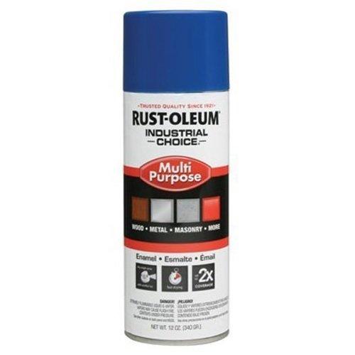 Rust-Oleum Industrial Choice 1600 System Gen Purpose Enamel Aerosol, Safety Blue 16 oz. Can - Lot of 6