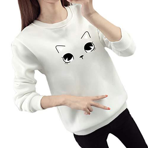 LISTHA Cute Cat Long Sleeve Sweatshirts Women Crowneck Pullover Loose Blouse Top ()