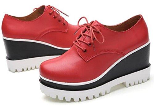 Dadawen Moda Donna Allacciata Piattaforma Casual Oxford Scarpe A Punta Quadrata Rosso-nuovo Stile