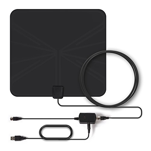 HD Antenna, Paxcess TV Antenna 50 Miles Digital HDTV Antenna, Indoor Amplified Antenna with Signal Amplifier Booster, USB Power Supply, 16.5ft High Performance Coaxial Cable for Local TV Programs