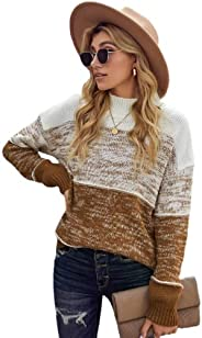 Kookmean Womens Sweaters, Womens Crewneck Long Sleeve Casual Color Block Cozy Pullover Fit Sweatershirts Knit