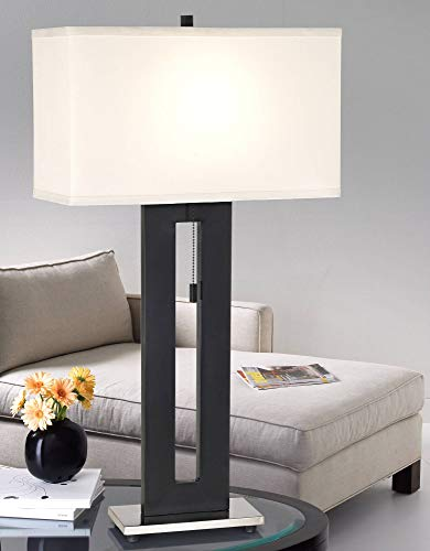 Right Angle Modern Table Lamp Black Metal Off White Fabric Rectangular Shade for Living Room Family Bedroom Bedside Nightstand - 360 Lighting