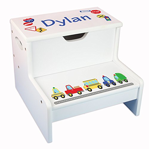 Personalized Cars & Trucks Storage Step Stool by MyBambino