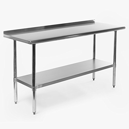 ss Steel Commercial Kitchen Prep & Work Table w/ Backsplash - 60 in. x 24 in. (Stainless Table Bases)