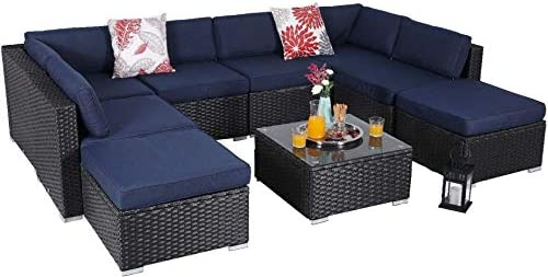 MFSTUDIO 9 Piece Patio Furniture Sofa New Sectional Outdoor Couch Set
