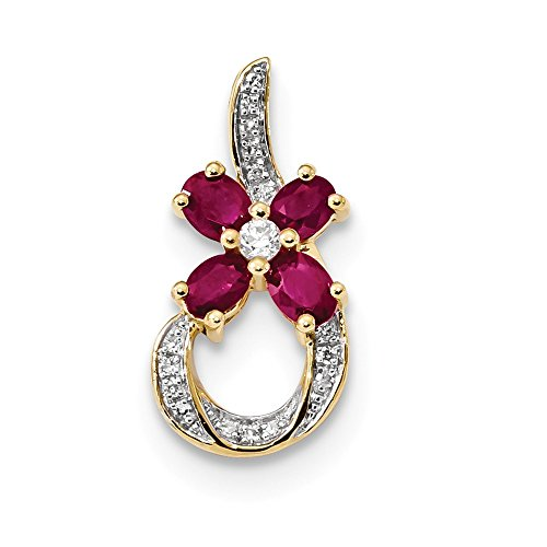 (Jewelry Pendants & Charms Slides 14k Diamond and Ruby Floral Slide)