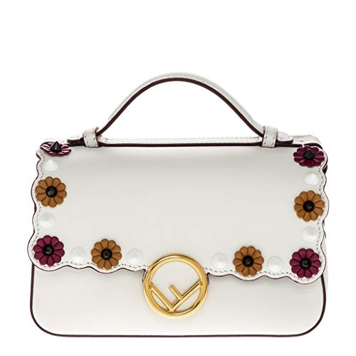 Fendi Women's Double Micro Baguette with Flower Studs White