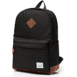 Vaschy Unisex Classic Lightweight Water-resistant Campus School Rucksack Travel Backpack Black Fits 14-Inch Laptop