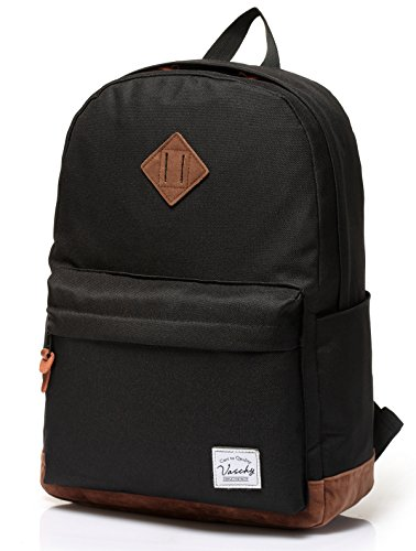 Vaschy Unisex Classic Lightweight Water-resistant Campus School Rucksack Travel Backpack Bookbag Black Fits 14-Inch Laptop