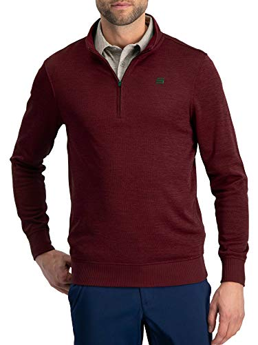 (Dry Fit Pullover Sweaters for Men - Quarter Zip Fleece Golf Jacket - Tailored Fit Maroon)