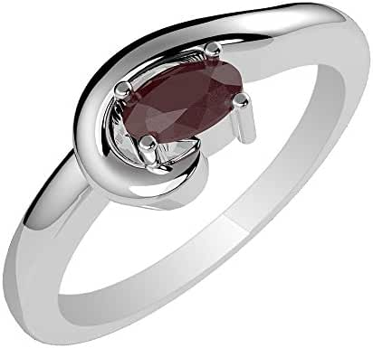 0.55ctw,Genuine Ruby 4x6mm Oval & Solid .925 Sterling Silver Rings