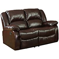 Furniture of America Poulanc Bonded Leather Match Recliner Love Seat, Brown