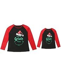 itifu Family Christmas Holiday Resting Grinch Face Long Sleeve Matching T-Shirt