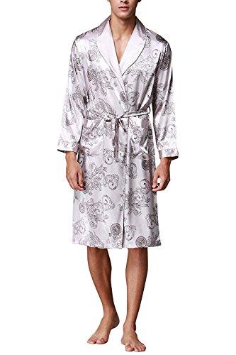 WEEN CHARM Men's Satin Robe Dragon Luxurious Silk Spa Long Sleeve House Kimono Bathrobe