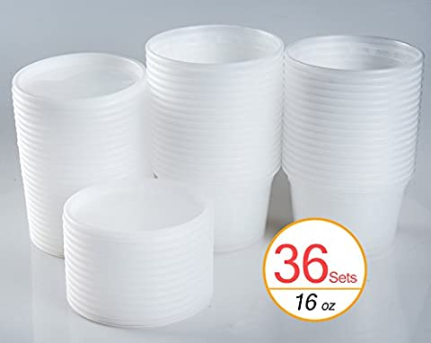 16 oz Plastic Food Containers / Soup Containers with Lids, 36 Sets - 16 Ounce Plastic Containers