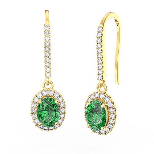 Eternity vert émeraude et argent sterling diamant Boucles d'oreilles Ovale (or jaune)