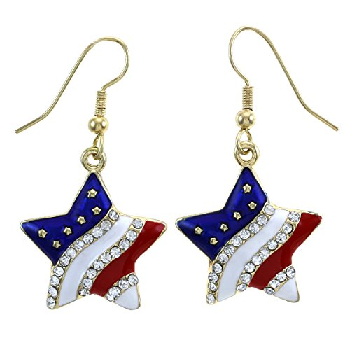 Patriotic Red White Blue American USA Flag Star Dangle Drop Earrings 4th of July Independence Day Gift (Gld Star Hook) (Usa Gift Shop)