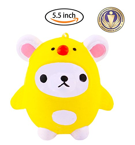 Dialeesi Squishies Slow Rising Cute Yellow Bear - Kawaii Squeeze Toy Pack 5.5 inch | Soft and Cream Scented Stress Reliever for (Yellow Soft Bear)