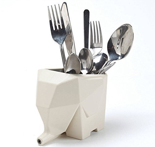 Giveme5 Lovely Elephant-shaped Cutlery Drainer Storage Box/Pencil Holder Case/Bathroom Cosmetic Storage Organization for Office Kitchen Bathroom-Beige