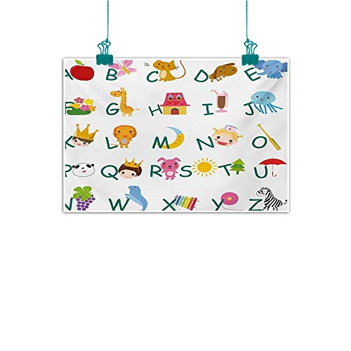 Mkedci Light Luxury American Oil Painting Educational Cute Kids Alphabet with Fruits Animals Prince Princess Cheerful Colorful Design Home and Everything W47 xL31 Multicolor
