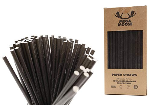 Mega Moose Biodegradable Paper Straws - 200 ct. Paper Drinking Straws with Ultra Compost - Bulk Paper Straws for Wedding Decorations, Bridal Showers, Cake Pop Sticks, Lollipop Candy Stick (Black)