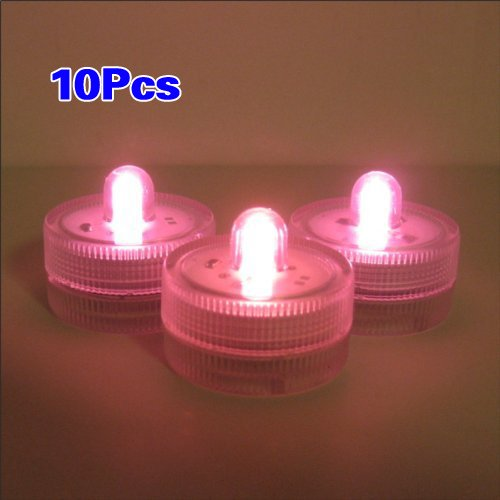 Sonline Waterproof Wedding Submersible / Underwater Battery Sub Lights LED 10 Lights~Pink~Wedding~Tea Light
