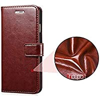 Goelectro Samsung Galaxy M10 / GalaxyM10 Leather Dairy Flip Case Stand with Magnetic Closure & Card Holder Cover (Brown)