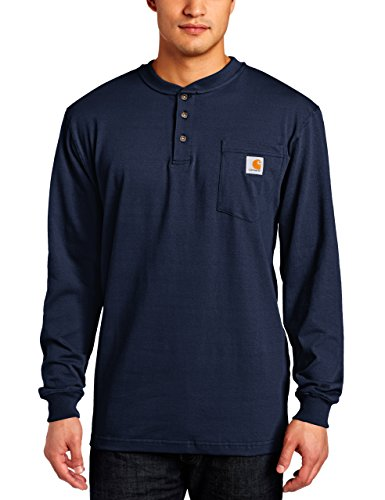 Carhartt Men's Workwear Pocket Henley Shirt (Regular and Big & Tall Sizes), Navy, Large