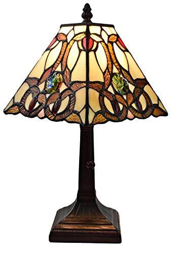 (Amora Lighting AM338TL08 Tiffany Style Geometric Mini Table Lamp, Multicolor)