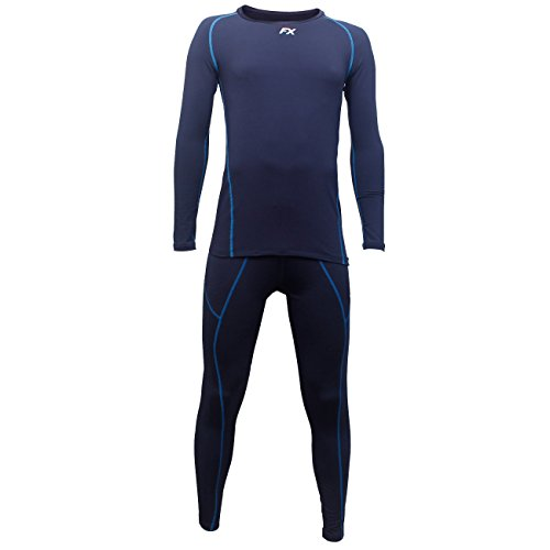 FITEXTREME Mens MAXHEAT Soft Fleece Long Johns Thermal Underwear Set Navy M