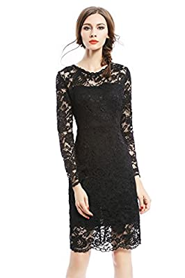 Joy EnvyLand Women Crew Neck Sheath Lace Cocktail Prom Party Lined Midi Dress