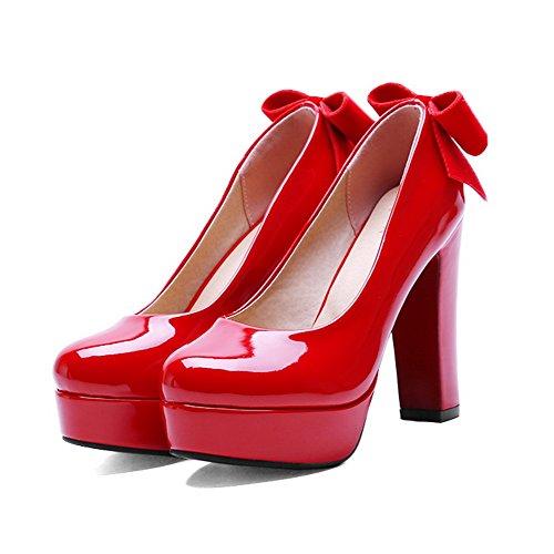 Odomolor Mujeres Sin cordones Tacón ancho Sólido Puntera Redonda Cerrada De salón con Lazos Rojo