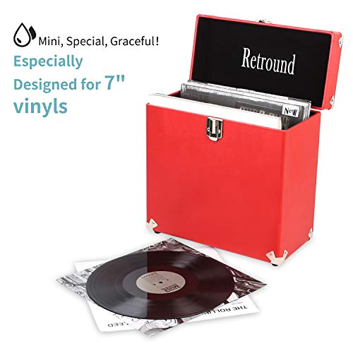 Retround Vintage Vinyl Record Storage, Retro Leather Carrying Case for 25+, 45rpm Records Albums (Dust/Scratch Free)-7Inch (Red)