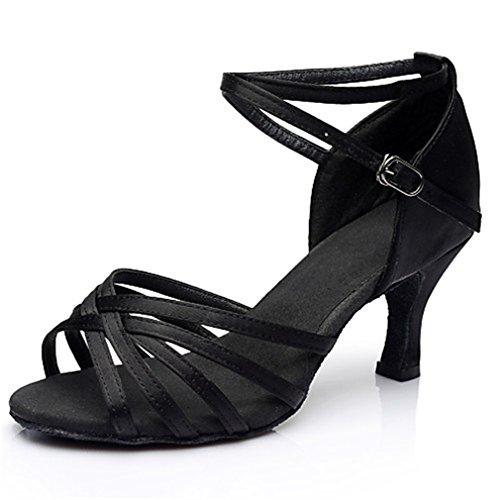 Mujer Latino Salón Seda Sandalia Zapatilla Interior Rendimiento Profesional Principiante Entrenamiento Hebilla Corbata De Lazo Tacón Negro