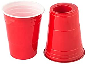 180 Cup Party Cup with Dual Shot Glass, Red, 50-Pack