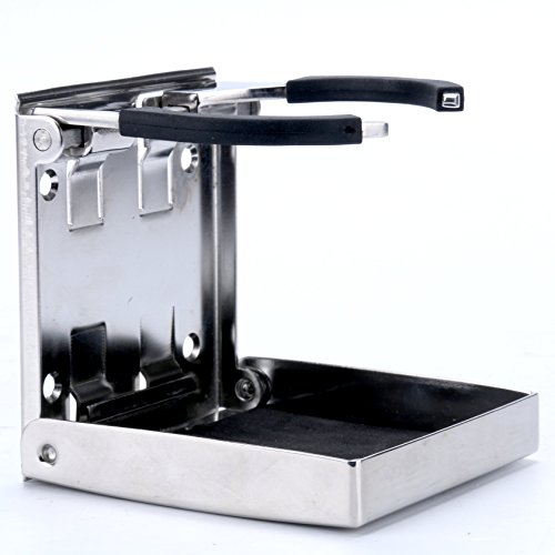 Amarine-made Stainless Steel Adjustable Folding Drink Holder Cup Holder Marine/boat/caravan/car