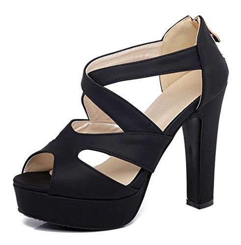High Heel Wrap - Aisun Women's Peep Toe Sandals Zipper - Chunky Platform Shoes - Sexy Ankle Wrap Extreme High Heel (Black, 7 B(M) US)