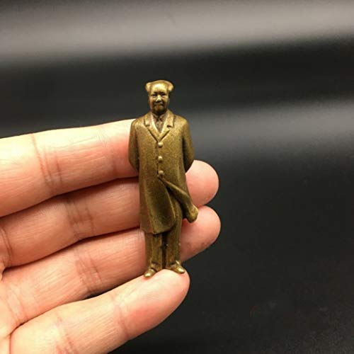 XOBULLO Brass Carved Mao Zedong Chairman Mao Statue Exquisite Collectable Small Sculpture ()
