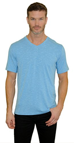 Mountain and Isles Men's Triblend Slub Jersey Ss V Neck Tee Medium Eco Blue Heather Eco Heather V-neck Shirt