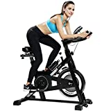 pooboo Exercise Bike Stationary Indoor Workout Cycling Bike Smooth Belt Driven,Height Adjustable Sport Stationary Bicycle for Home Cardio Exercise,with Heart Pulse Sensors & LCD Monitor For Sale