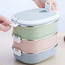 Bento Lunch Box Containers - Mr.Dakai Kids Students Square Stainless Steel Bento Lunch Box For A Snack Office Food Lock Container Microwave Ok / Food Storage Boxes (3-Tier)