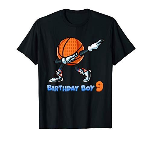 Funny Dabbing Basketball Ball 9th Birthday Boy 9 Years Old T-Shirt