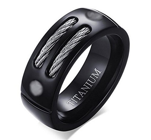 PSRINGS 8MM Rings Rock Punk Rings With Cable Wire Black Stainless Steel Ring Black Tungsten Steel Rings 8.0