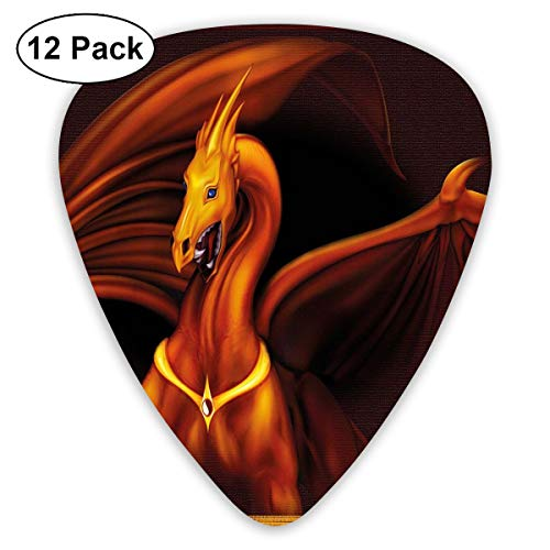 Guitar Picks 12-Pack,Legandary Gold Tricorn Dragon On Dark Background Magical Wild Animal Picture