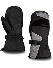 HIGHCAMP Mens Waterproof & Windproof Winter Snow Mittens with Drawstring Wrist Leashes for Cold Weather Skiing & Snowboarding & More Outdoor Sports
