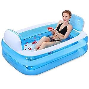 Bañera Inflable Bañera De Plástico Más Grueso Bañera Plegable De Plástico Azul
