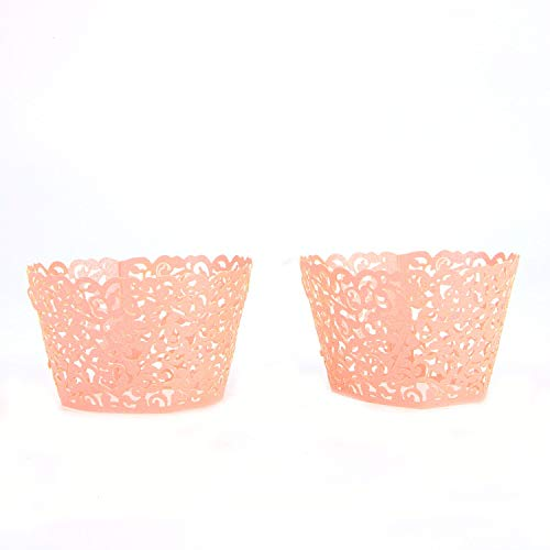 Monrocco 50 Pack Pink Cupcake Wrappers Lace Laser Cut Filigree Cupcake Wraps Baking Cups for Wedding Birthday - Cut Laser Cupcake