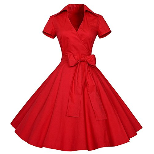 iLUGU Knee-Length Dress for Women Short Sleeve Turn-Down V-Neck Bowknot Bandage A-Line 50S 60S Housewife Party Ball Gown