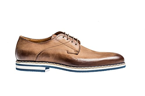 Jose Real Shoes Berlina Collection | Mens Oxford Light Brown Genuine Real Italian Nubuck Leather Dress Shoe | Size EU (Light Brown Nubuck Leather)