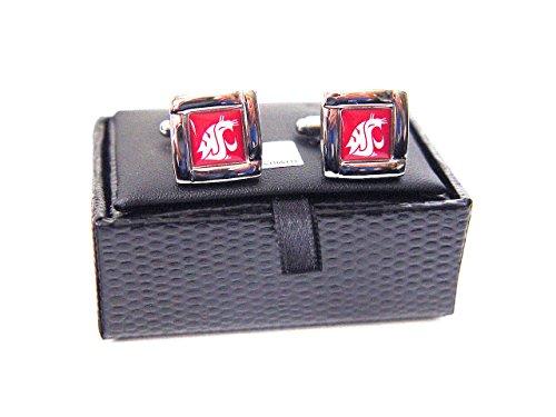 aminco NCAA Washington Huskies Square Cufflinks with Square Shape Engraved Logo Design Gift Box Set